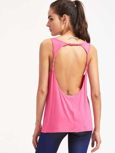 Open Back Tank Top With Dropped Armhole