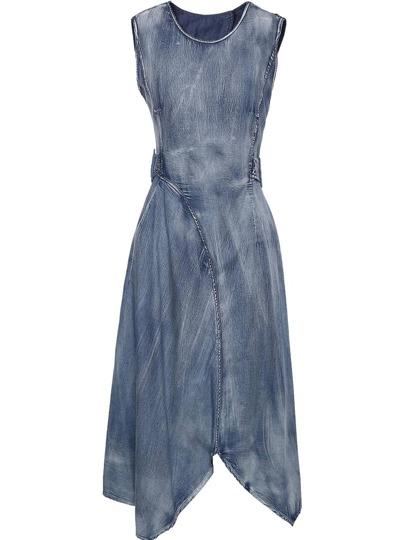 Robe en jeans asymétrique sans manche