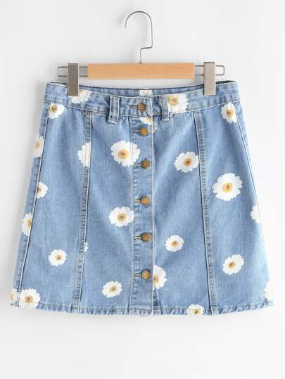Single Breasted Daisy Print Denim Skirt