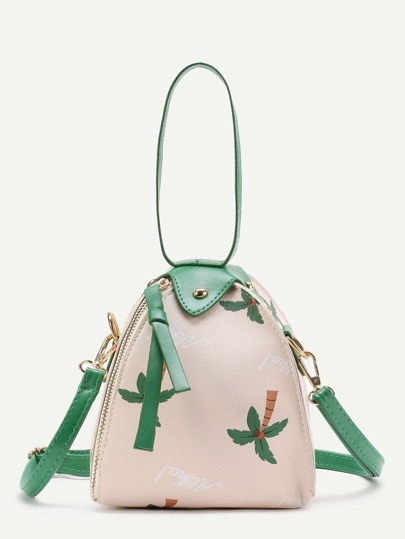Palm Tree Print PU Shoulder Bag With Handle