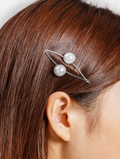 Double Faux Pearl Decorated Hair Clip
