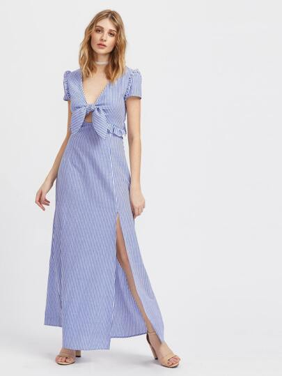 Knot Front Frill Detail M-slit Peekaboo Dress