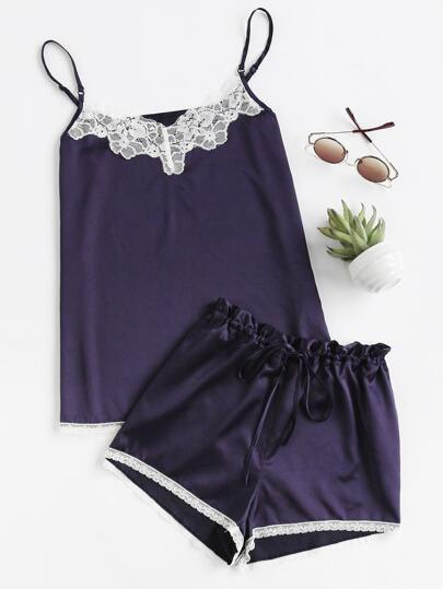 Lace Trim Cami And Shorts Pajama Set