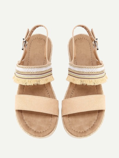 Sandalias planas con detalle de flecos