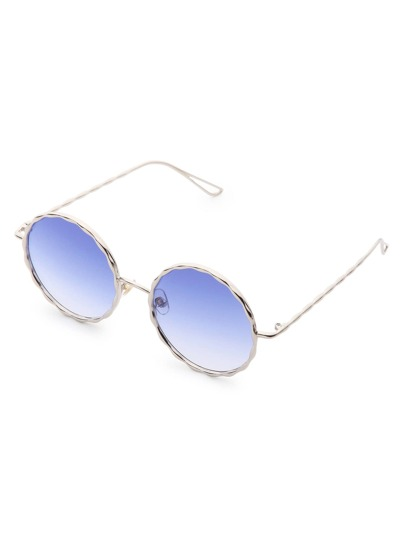 Wave Frame Round Sunglasses