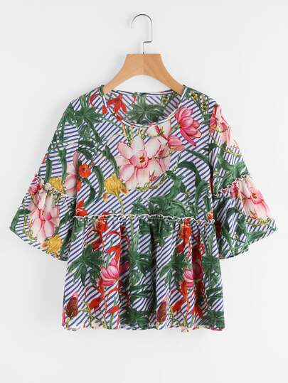 Florals Bell Sleeve Smock Blouse