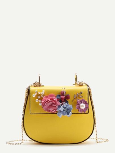 Applique Flower Saddle Chain Bag