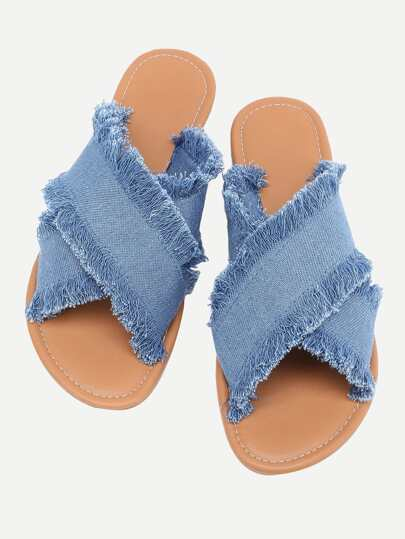 Raw Trim Cross Band Denim Flip Flops