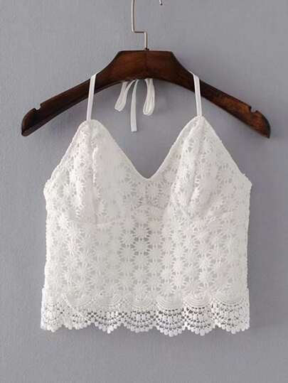 Halterneck Lace Top