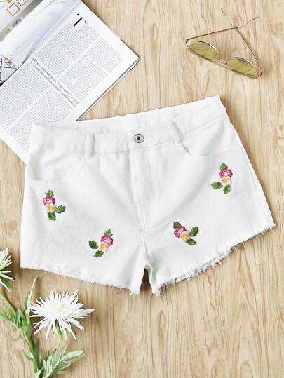 Flower Embroidered Raw Hem Shorts