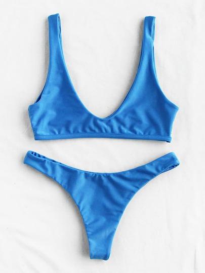 Plunge Neckline Beach Bikini Set
