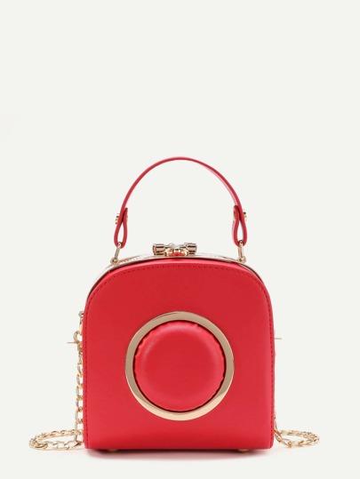 Metal Ring Embellished PU Grap Bag