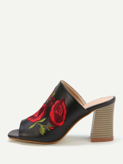 Flower Embroidery Flared High Heel Mules