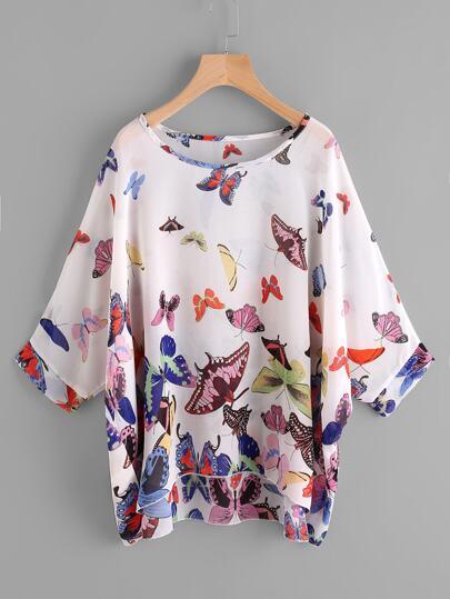 Chiffon Bluse mit Dolmanärmeln, Schmetterlingmuster und abfallendem Saum