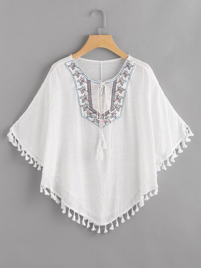 Embroidered Tie Neck Tassel Hem Cape Top