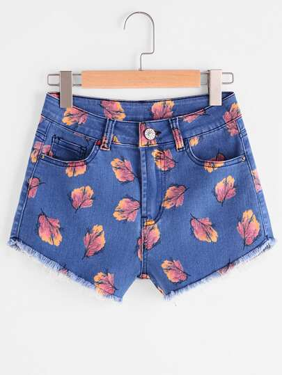 Shorts en denim con estampado