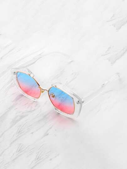 Ombre Lens Clear Frame Sunglasses