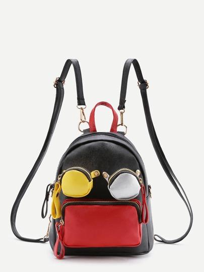 PU Rucksack mit Tasche vorn