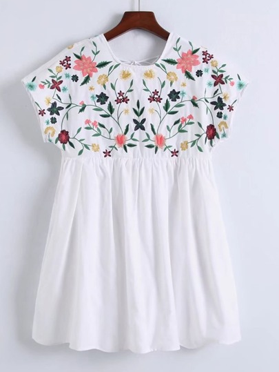 Flower Embroidery Cap Sleeve Dress