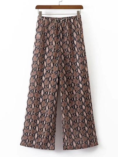 Pantalons jambe large élastique imprimé du serpent