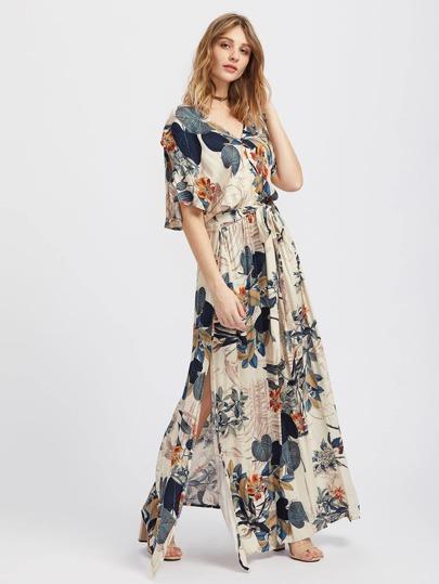 Vestito kimono con stampa tropiacle