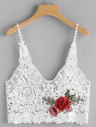 Crochet Embroidered Appliques Cami Top