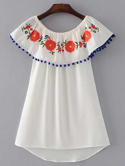 Boat Neckline Pom Pom Trim High Low Dress