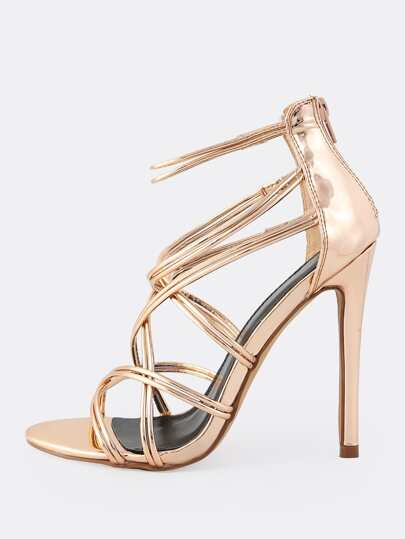 Metallic Super Strap Heels ROSE GOLD