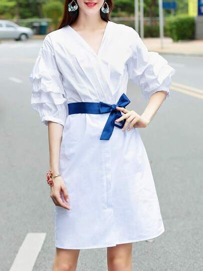 V Neck Puff Sleeve Dress