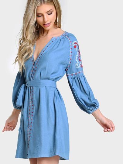 Puffed Sleeve Stiched Dress DENIM