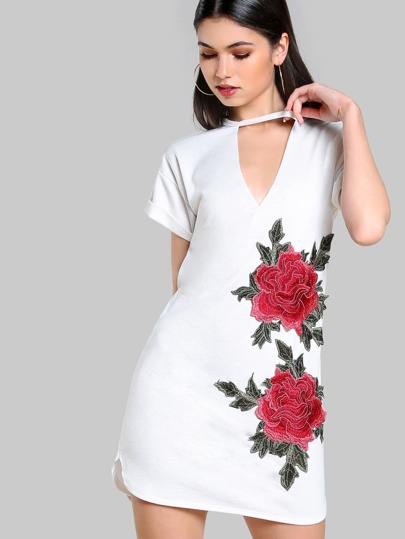 Embroidered Choker Tunic Dress IVORY