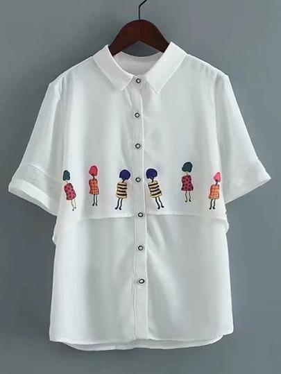 Модная шифоновая блуза с принтом