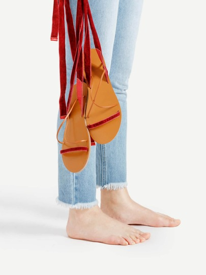 Criss Cross Velvet Flat Sandals