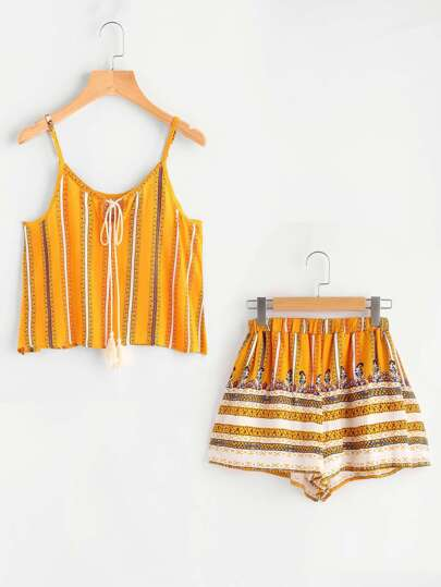 Tribal Print Fringed Tie Neck Cami Top With Shorts