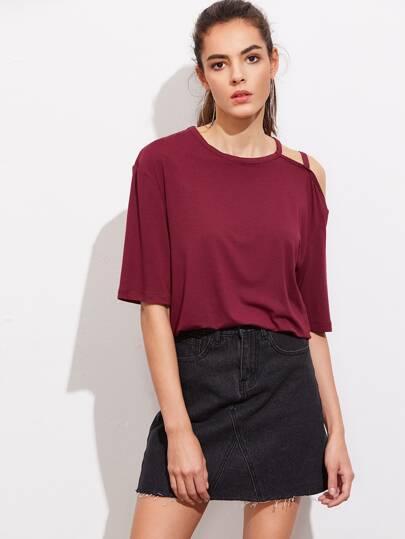 Tee-shirt épaules dénudées asymétrique à bretelle