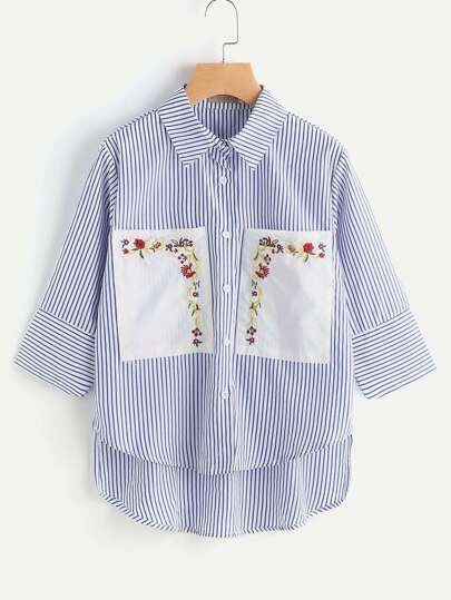 Contrast Embroidery Pockets High Low Striped Shirt