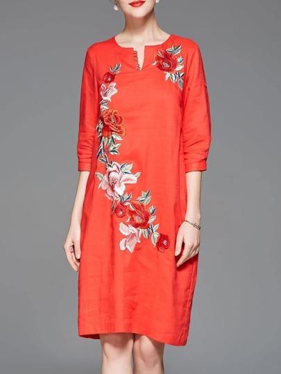 V Neck Flowers Embroidered Pockets Dress