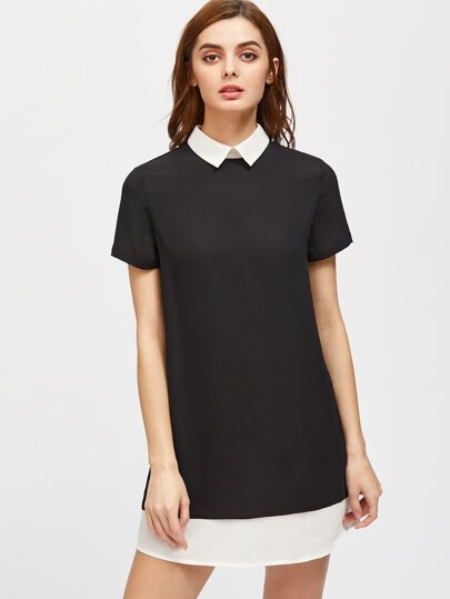 Contrast Collar And Hem Tunic Dress