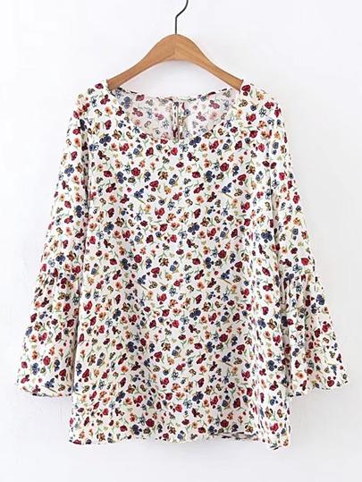 Blusa con estampado floral de manga campanuda