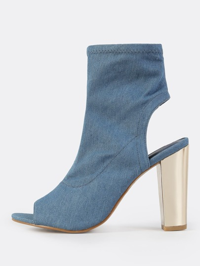 Denim Peep Toe Booties BLUE DENIM