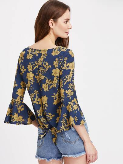 Calico Print Bell Sleeve Knot Back Dip Hem Blouse