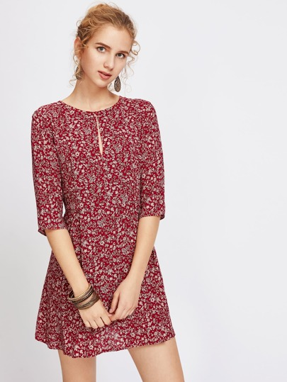 Calico Print Keyhole Front Dress