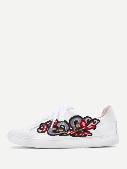 Flower Embroidery Lace Up Sneakers