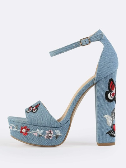 Denim Embroidered Platform Ankle Strap Heels DENIM