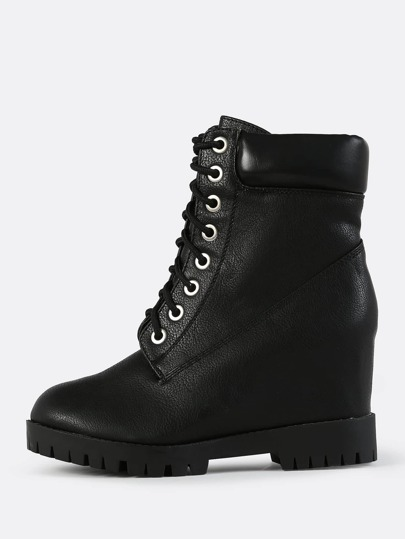 Chunky Wedge Booties BLACK