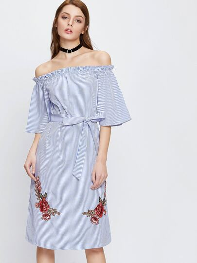 Vertical Pinstripe Embroidered Appliques Dress With Belt
