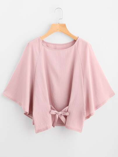 Raglan Sleeve Bow Tie Front Blouse