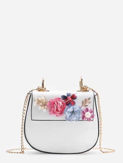 Applique Flower Saddle Chain Bag