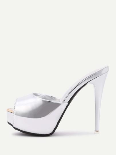 Sandales à talons métallique en PU