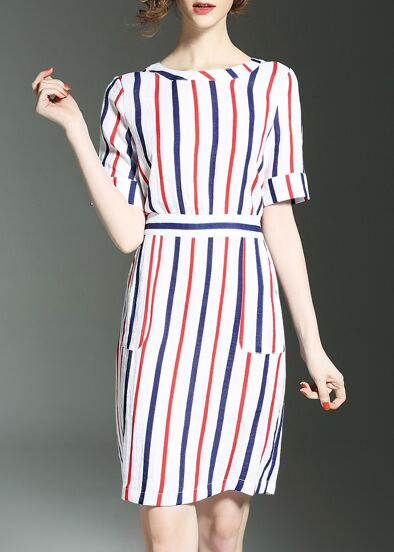 Color Block Striped Pockets Dress